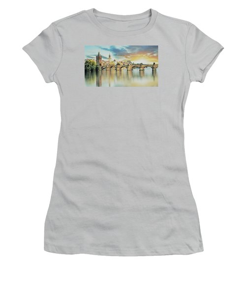 Charles Bridge Women's T-Shirt (Junior Cut) by Maciek Froncisz