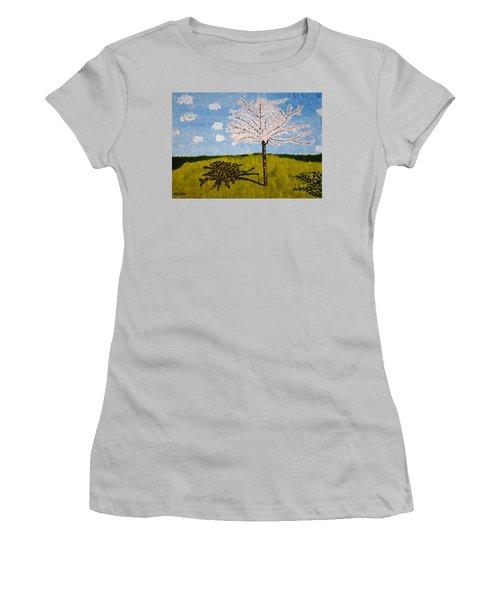 Cherry Blossom Tree Women's T-Shirt (Junior Cut) by Valerie Ornstein