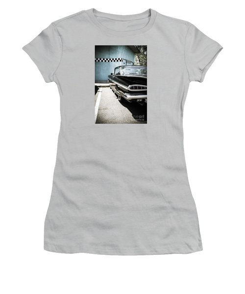 Chevrolet Impala In Front Of American Diner Women's T-Shirt (Junior Cut) by Perry Van Munster