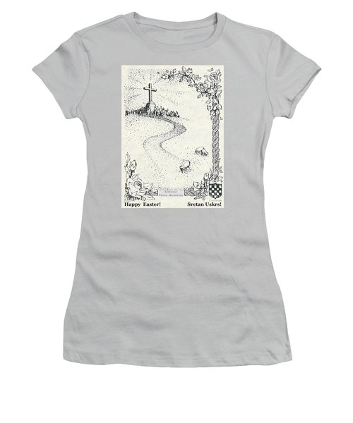Christ Is Risen  Women's T-Shirt (Junior Cut) by Christina Verdgeline
