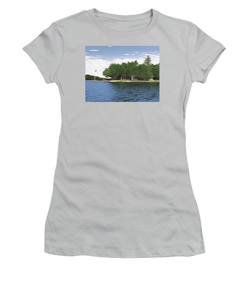 Women's T-Shirt (Junior Cut) featuring the painting Christmas Island Muskoka by Kenneth M Kirsch