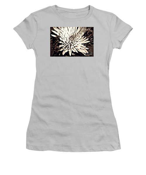 Women's T-Shirt (Junior Cut) featuring the photograph Chrysanthemum In Sepia 2  by Sarah Loft