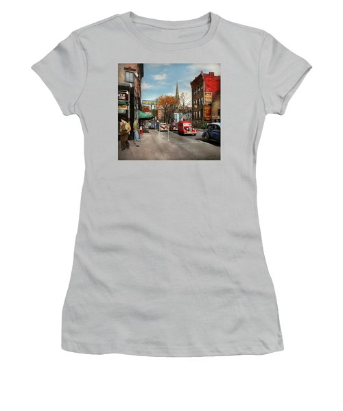 Women's T-Shirt (Junior Cut) featuring the photograph City - Amsterdam Ny - Downtown Amsterdam 1941 by Mike Savad