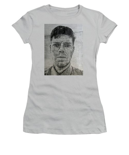 Women's T-Shirt (Junior Cut) featuring the drawing Close Self Portrait by Denny Morreale