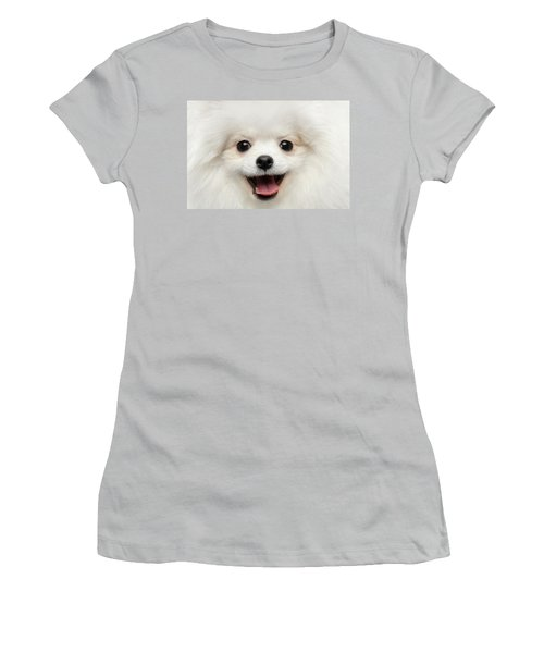 Closeup Furry Happiness White Pomeranian Spitz Dog Curious Smiling Women's T-Shirt (Athletic Fit)