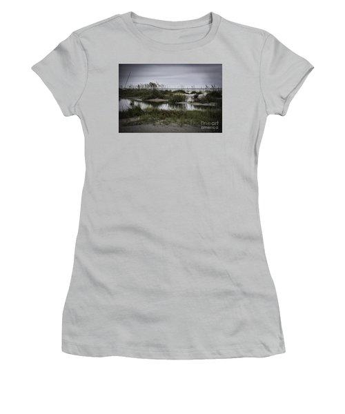 Cloudy Beach Day Women's T-Shirt (Junior Cut) by Judy Wolinsky