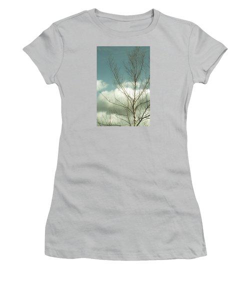 Women's T-Shirt (Junior Cut) featuring the photograph Cloudy Blue Sky Through Tree Top No 2 by Ben and Raisa Gertsberg