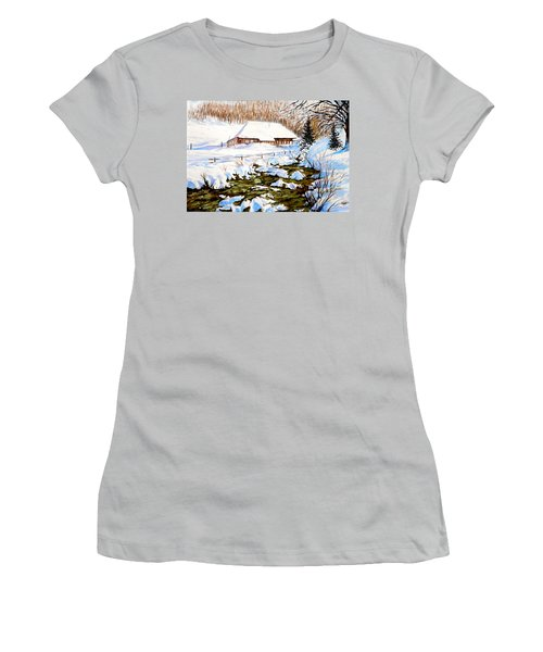 Clubhouse In Winter Women's T-Shirt (Junior Cut) by Sher Nasser