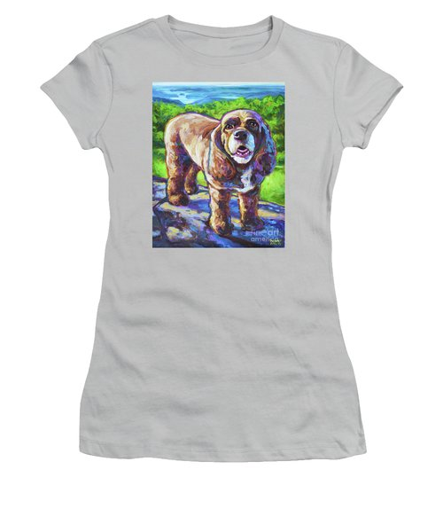 Women's T-Shirt (Junior Cut) featuring the painting Cocker Spaniel  by Robert Phelps