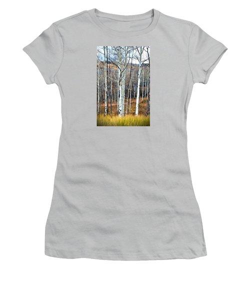 Colorado Fall Aspen Women's T-Shirt (Junior Cut) by James Steele