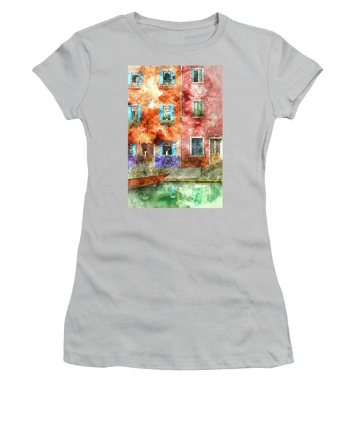 Colorful Houses In Burano Island, Venice Women's T-Shirt (Athletic Fit)