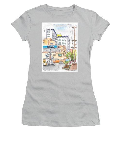 Corner La Cienega Blvd. And Hallway, Chevron Gas Station, West Hollywood, Ca Women's T-Shirt (Junior Cut) by Carlos G Groppa
