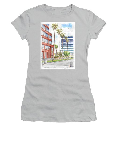 Corner Wilshire Blvd. And Curson, Miracle Mile, Los Angeles, Ca Women's T-Shirt (Junior Cut) by Carlos G Groppa