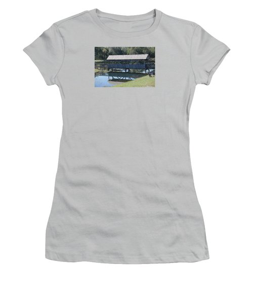 Women's T-Shirt (Junior Cut) featuring the photograph Covered Bridge Painting by Debra     Vatalaro