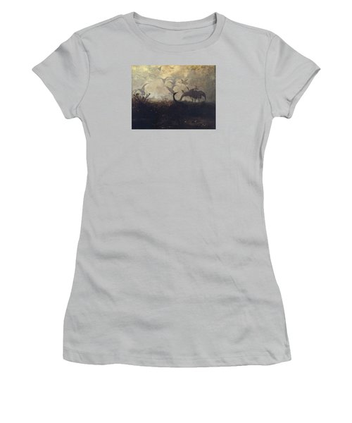 Cranes Take Off Women's T-Shirt (Athletic Fit)
