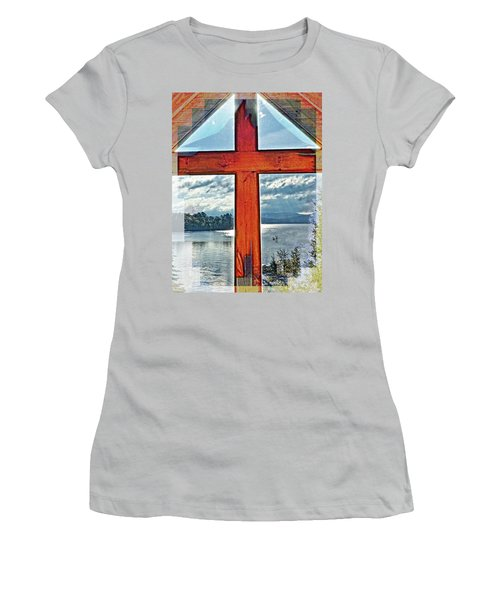 Cross Window Lake View  Women's T-Shirt (Athletic Fit)