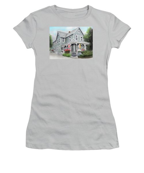 Women's T-Shirt (Junior Cut) featuring the drawing Cup A Joes Coffee Shop by Albert Puskaric