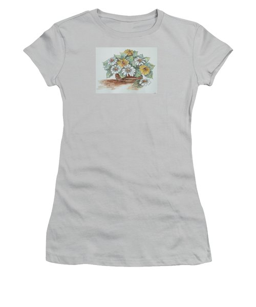 Women's T-Shirt (Junior Cut) featuring the painting Daisy Craze by Sharyn Winters