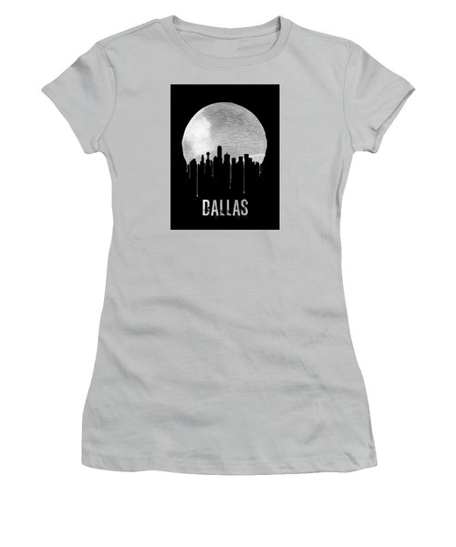 Dallas Skyline Black Women's T-Shirt (Junior Cut) by Naxart Studio