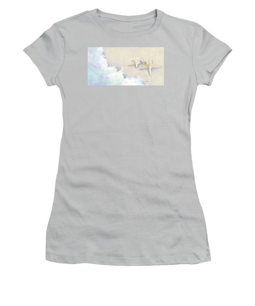 Women's T-Shirt (Athletic Fit) featuring the painting Dance Of The Sea - Knobby Starfish Impressionstic by Audrey Jeanne Roberts