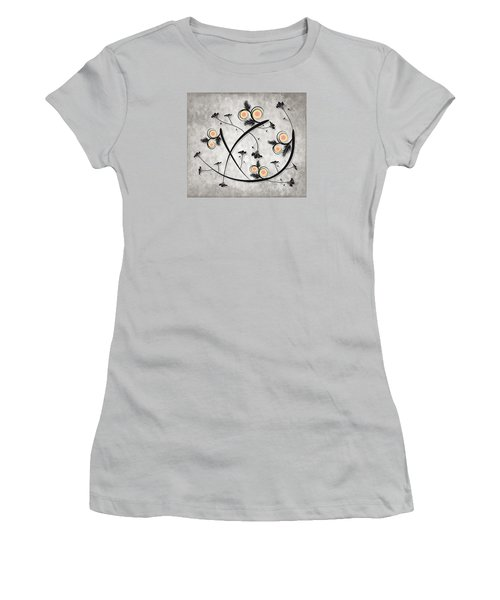 Women's T-Shirt (Junior Cut) featuring the digital art Dancing Flowers by Milena Ilieva