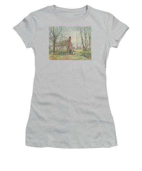 David Burns's Cottage And The Washington Monument, Washington Dc, 1892  Women's T-Shirt (Athletic Fit)