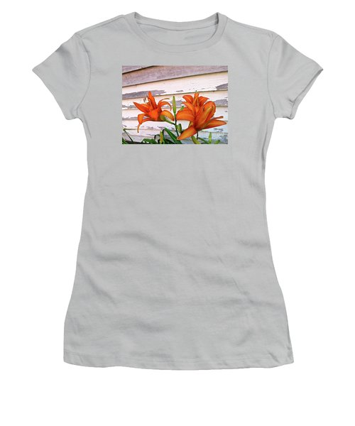Day Lilies And Peeling Paint Women's T-Shirt (Athletic Fit)
