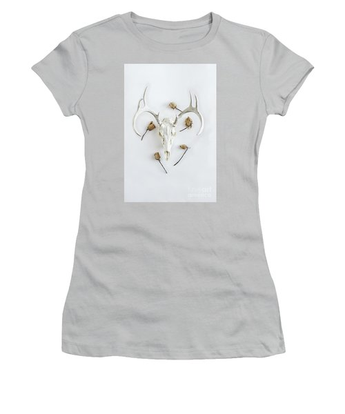 Women's T-Shirt (Junior Cut) featuring the photograph Deer Skull With Antlers And Roses by Stephanie Frey