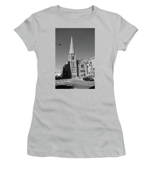 Denver Downtown Church Bw Women's T-Shirt (Junior Cut) by Frank Romeo