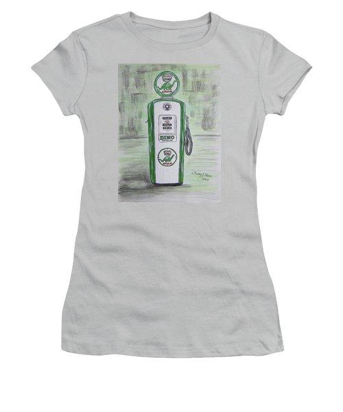 Dino Sinclair Gas Pump Women's T-Shirt (Junior Cut) by Kathy Marrs Chandler