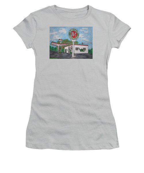 Dino Sinclair Gas Station Women's T-Shirt (Junior Cut) by Kathy Marrs Chandler
