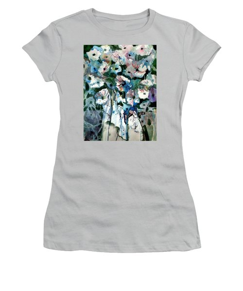 Women's T-Shirt (Junior Cut) featuring the painting Disney Petunias by Mindy Newman