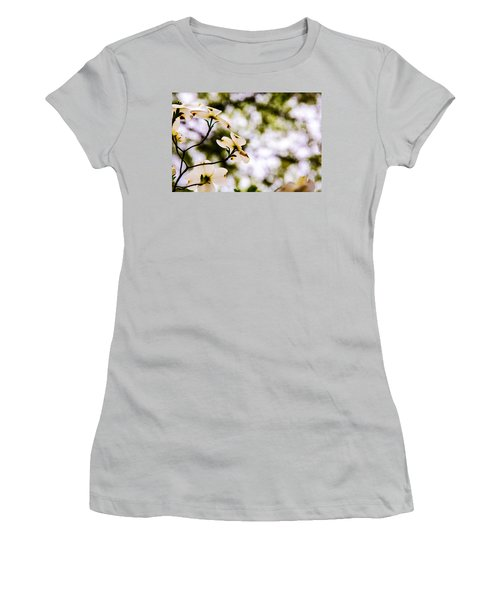 Women's T-Shirt (Junior Cut) featuring the photograph Dogwoods Under The Pines by John Harding