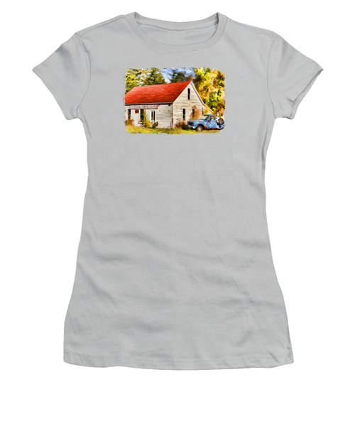 Women's T-Shirt (Athletic Fit) featuring the painting Door County Gus Klenke Garage by Christopher Arndt
