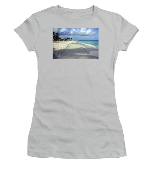 Women's T-Shirt (Junior Cut) featuring the photograph Eagle Beach Aruba by Suzanne Stout