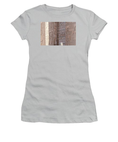 Women's T-Shirt (Athletic Fit) featuring the photograph Egyptian Hieroglyphs by Silvia Bruno