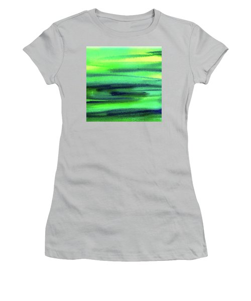Emerald Flow Abstract Painting Women's T-Shirt (Junior Cut) by Irina Sztukowski