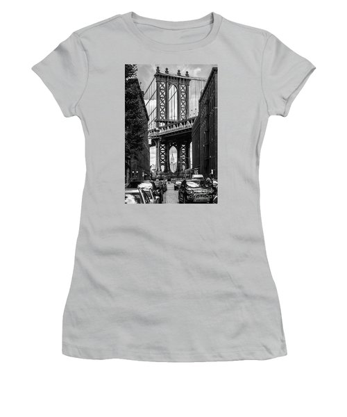 Empire State Building Framed By Manhattan Bridge Women's T-Shirt (Athletic Fit)