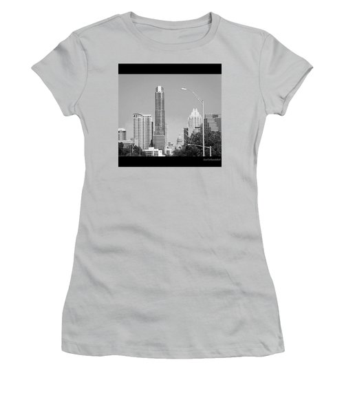 Even In #blackandwhite, The #skyline Of Women's T-Shirt (Athletic Fit)