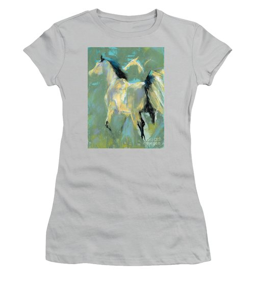 Women's T-Shirt (Junior Cut) featuring the pastel Fading Out To Three by Frances Marino