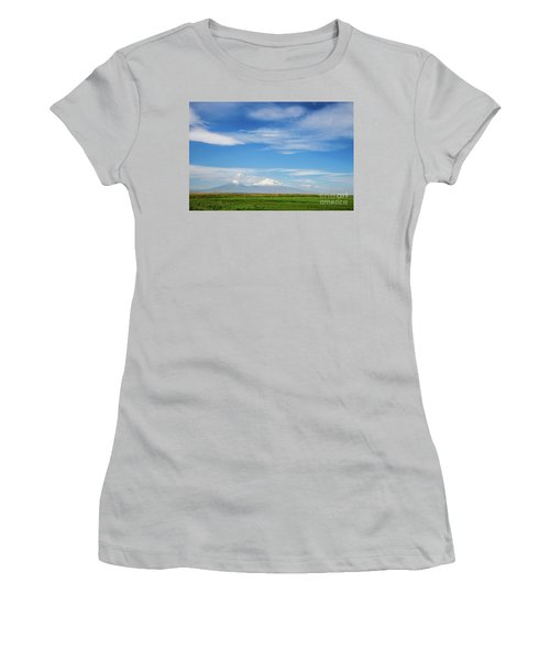 Famous Ararat Mountain Under Beautiful Clouds As Seen From Armenia Women's T-Shirt (Athletic Fit)
