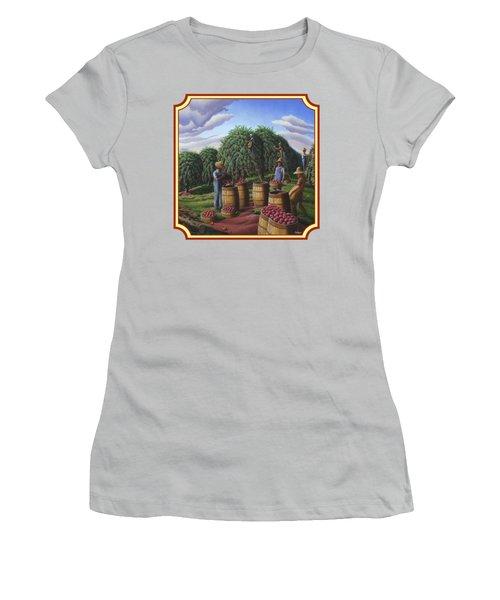 Farm Americana - Autumn Apple Harvest Country Landscape - Square Format Women's T-Shirt (Athletic Fit)