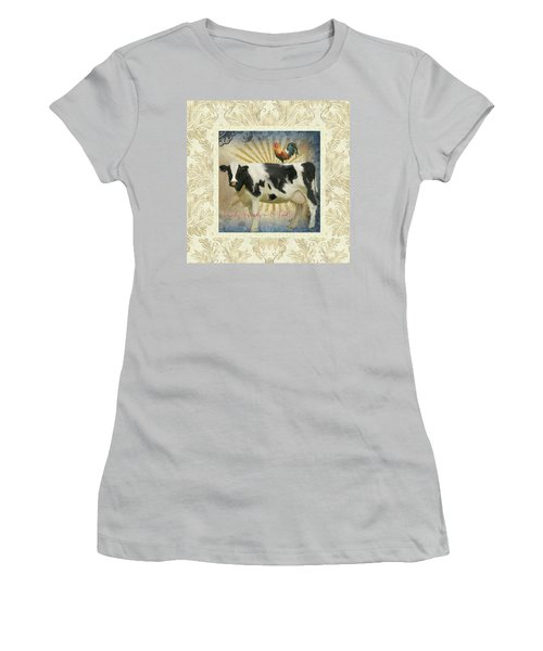 Women's T-Shirt (Athletic Fit) featuring the painting Farm Fresh Damask Milk Cow Red Rooster Sunburst Family N Friends by Audrey Jeanne Roberts