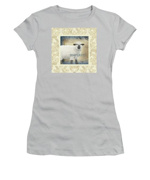 Women's T-Shirt (Athletic Fit) featuring the painting Farm Fresh Damask Sheep Lamb Simplicity Square by Audrey Jeanne Roberts