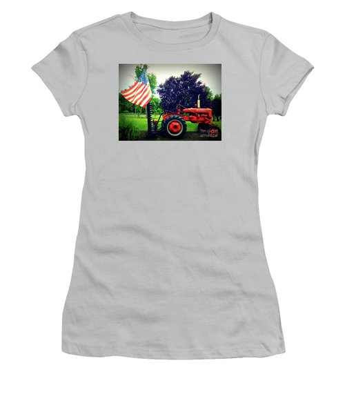 Farmall And Flag Women's T-Shirt (Athletic Fit)