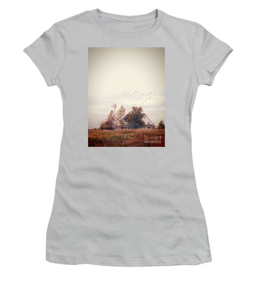 Women's T-Shirt (Junior Cut) featuring the photograph Farmhouse And Windmill by Jill Battaglia