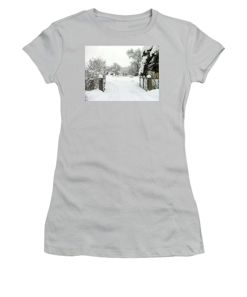 Women's T-Shirt (Junior Cut) featuring the photograph Fence And  Gate In Winter by Wilhelm Hufnagl