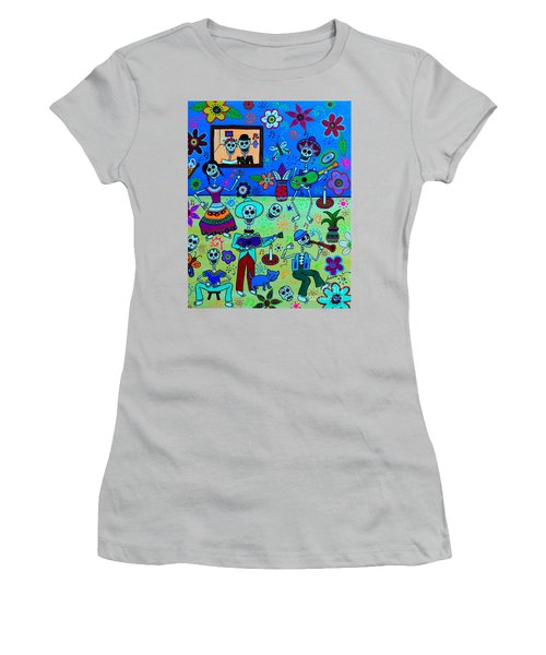 Women's T-Shirt (Athletic Fit) featuring the painting Fiesta Calaveras IIi by Pristine Cartera Turkus