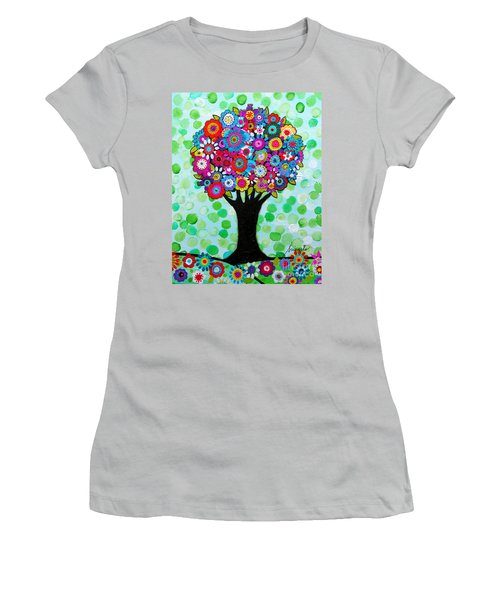 Women's T-Shirt (Athletic Fit) featuring the painting First Day Of Spring by Pristine Cartera Turkus