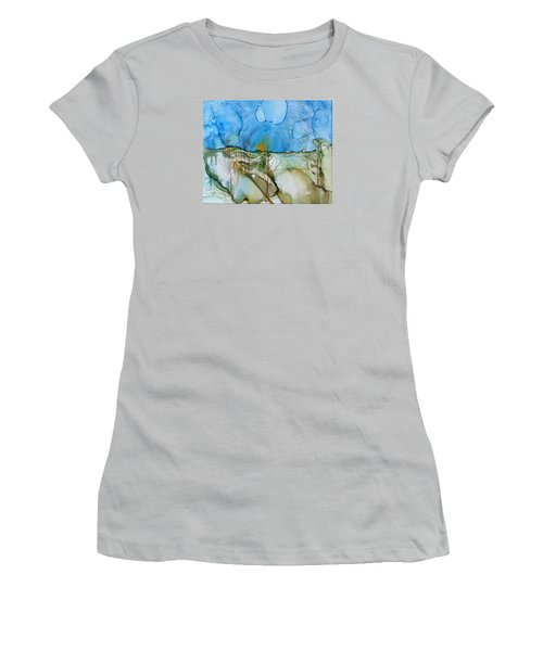 Women's T-Shirt (Junior Cut) featuring the painting First Snowfall by Pat Purdy